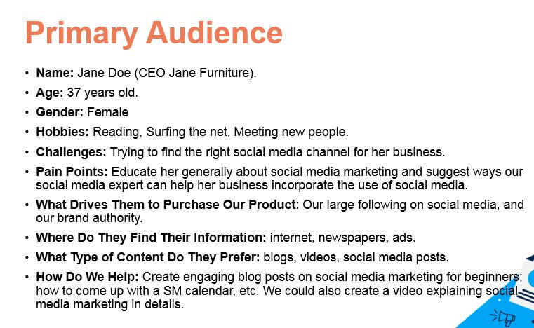content marketing audience persona sample